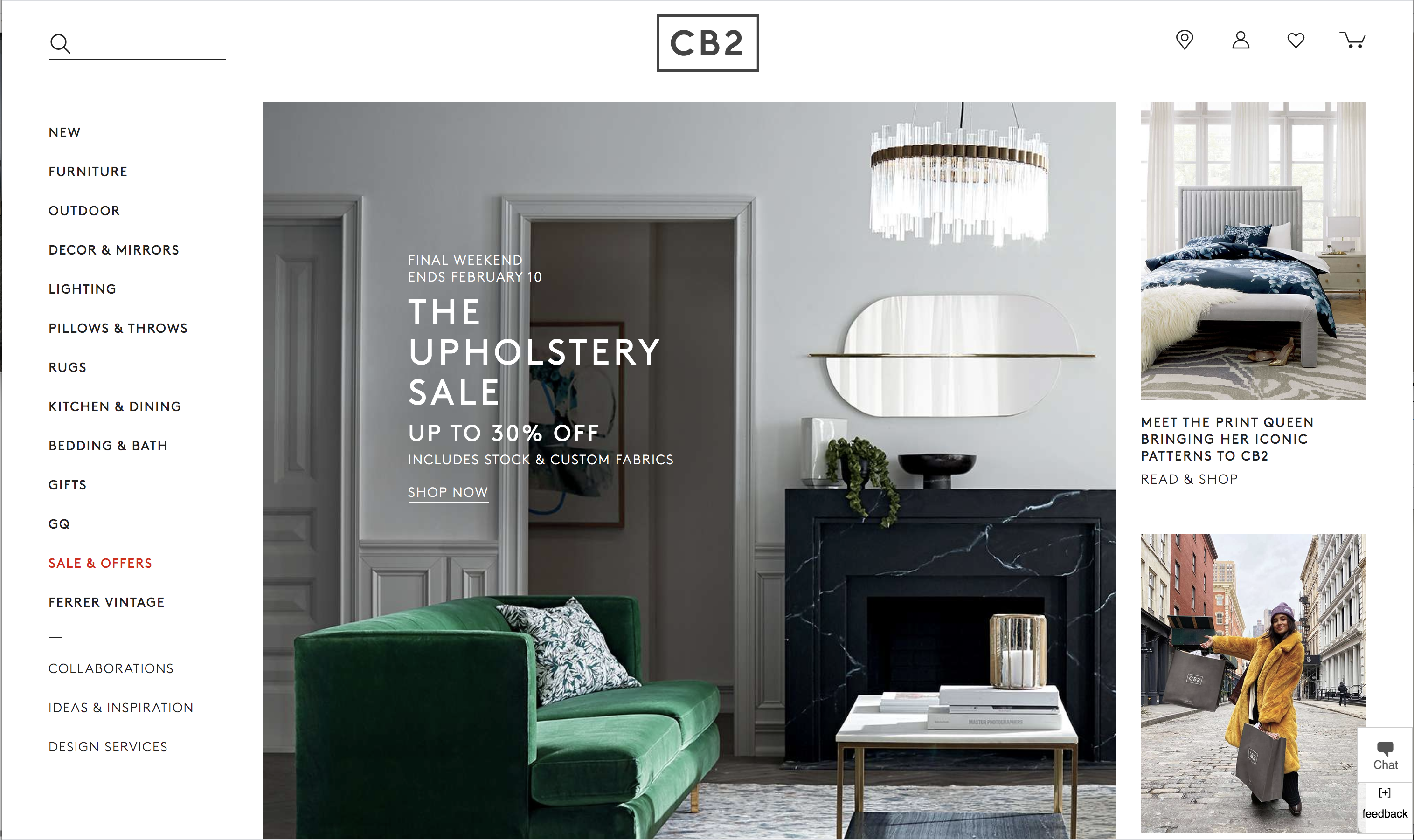 New CB2 Home Page